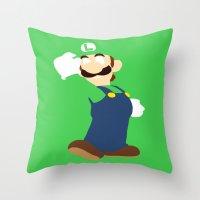 luigi Throw Pillows featuring Luigi by Valiant