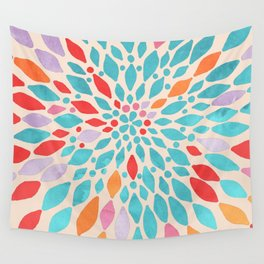 Radiant Dahlia - teal, orange, coral, pink watercolor pattern Wall Tapestry