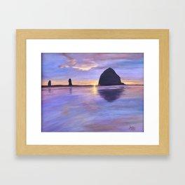 Sunset at Haystack Rock Framed Art Print