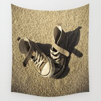 shoes Wall Tapestries featuring Lost shoes by Maria Heyens