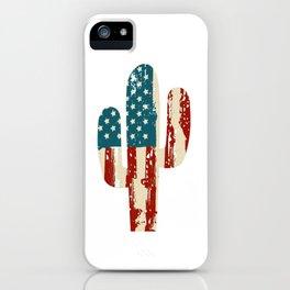 AMERICA PATRIOTIC 4TH OF JULY graphicS CACTUS AMERICAN FLAG design iPhone Case