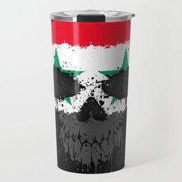 Flag of Syria on a Chaotic Splatter Skull Travel Mug