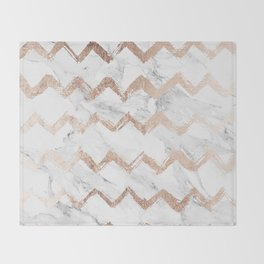 Chic faux rose gold chevron white marble pattern Throw Blanket