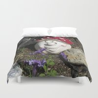 gnome Duvet Covers featuring Happy gnome by KendraH