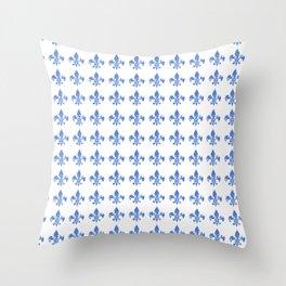 French Blue fleur di li Throw Pillow