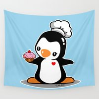 chef Wall Tapestries featuring Chef Penguin by joanfriends