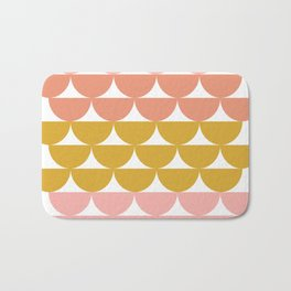 Pretty Geometric Bowls Pattern in Coral and Mustard Bath Mat