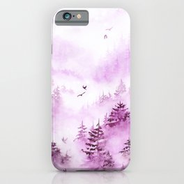 Misty Forest Watercolor in Pink-Calm Harmony iPhone Case