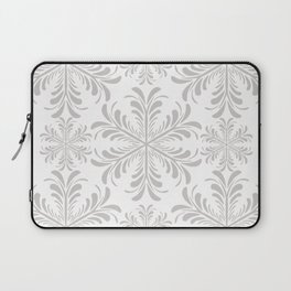 Christmas Snow Flakes in Gray and White Laptop Sleeve