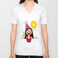 birthday V-neck T-shirts featuring Birthday by Zurecia
