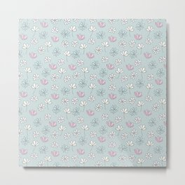Sweet and Simple Floral Blue and Pink Pattern  Metal Print