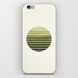 Olive Green Mid Century Modern Minimalist Scandinavian Colorful Stripes Geometric Pattern Round Circ iPhone Skin