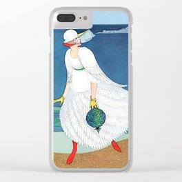 "George Wolfe Plank Art Deco Design ""On The Beach"" Clear iPhone Case"