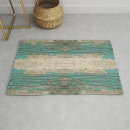 Rustic Wood - Weathered Wooden Plank - Beautiful knotty wood weathered turquoise paint Rug