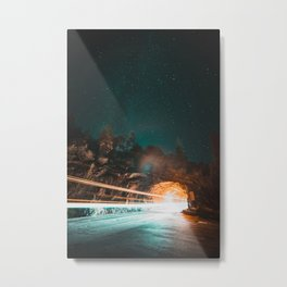 Yosemite Tunnel Light Trail Metal Print