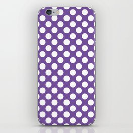 White Polka Dots with Purple Background iPhone Skin