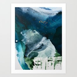 Untamed [2]: a vibrant minimal abstract design in blue gold and white by Alyssa Hamilton Art Art Print