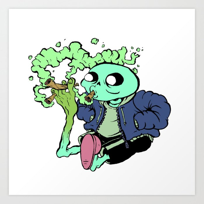 Sans Undertale Smokin Blunts With His Toes Art Print By Mcduckillustration