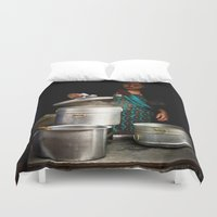 cooking Duvet Covers featuring Cooking in Kathmandu, Nepal by Julian Bound