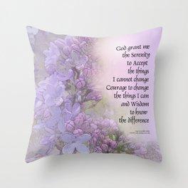 Serenity Prayer Lilacs Throw Pillow
