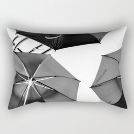 Black Umbrellas Rectangular Pillow