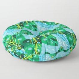 Elephant Leaf Green Blue Floor Pillow