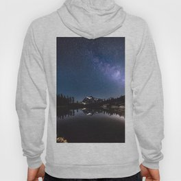 Summer Stars - Galaxy Mountain Reflection - Nature Photography Hoody