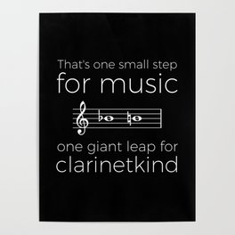 Crossing the break (clarinet) - white text for dark t-shirts Poster