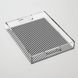 Vertical Stripes (Black/White) Acrylic Tray