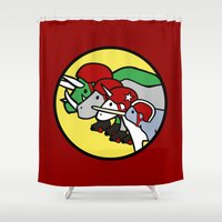 roller derby Shower Curtains featuring Horned Warrior Friends Roller Derby by Jez Kemp