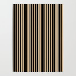 Tan Brown and Black Vertical Var Size Stripes Poster