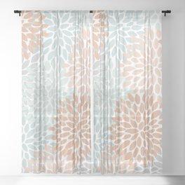 Winter, Abstract, Floral Prints, Aqua, Coral, Gray Sheer Curtain