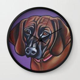 Portrait of a Redbone Coonhound on lavender/purple background Wall Clock