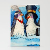 penguins Stationery Cards featuring penguins by oxana zaika