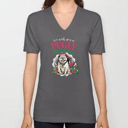 Pug Dog Christmas Gift Pugs Pugly X-Mas Unisex V-Neck