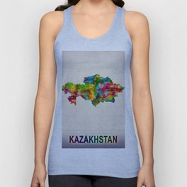 Kazakhstan Map in Watercolor Unisex Tank Top