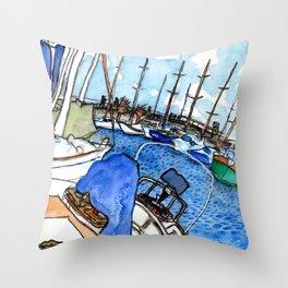 Boats at the Marina Throw Pillow