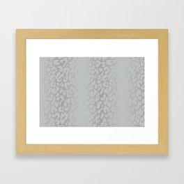 White Silver Leopard Print Framed Art Print