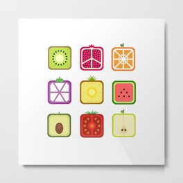 Squared Fruits Metal Print