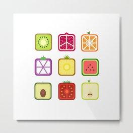 Squared Fruits Metal Print