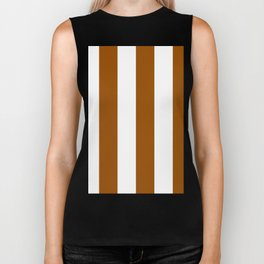Wide Vertical Stripes - White and Brown Biker Tank