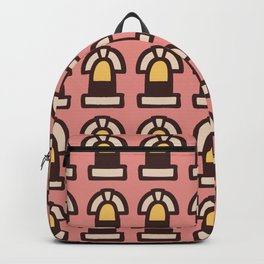 New York Windows Pattern 261 Dusty Rose and Yellow Backpack