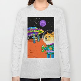 Shibe Doge Astro and the Aliens Memes Cats Cartoon Long Sleeve T-shirt