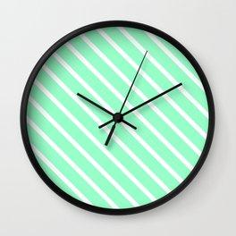 Mint Julep #2 Diagonal Stripes Wall Clock