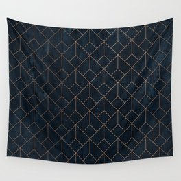 Gold Art deco on Navy ink Wall Tapestry