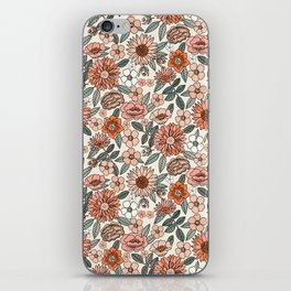 70s flowers - 70s, retro, spring, floral, florals, floral pattern, retro flowers, boho, hippie, earthy, muted iPhone Skin