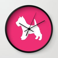 westie Wall Clocks featuring Westie (Pink/White) by Erin Rea