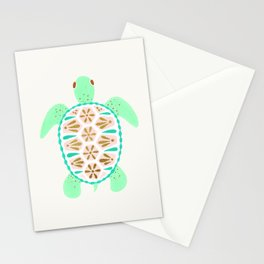 Sea turtle green pink and metallic accents Stationery Cards