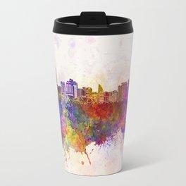 Baku skyline in watercolor background Travel Mug