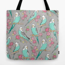 Budgie Birds With Blossom Flowers on Grey Tote Bag